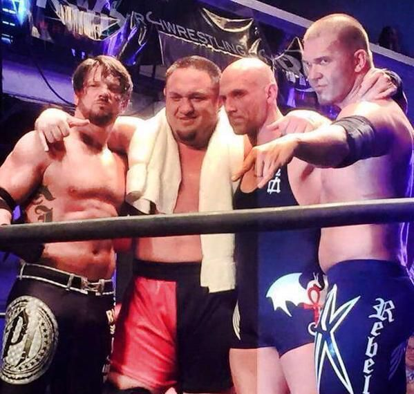 AJ Styles y Samoa Joe vs. The Addiction (Christopher Daniels y Frankie Kazarian) En la lucha de despedida de Joe de ROH