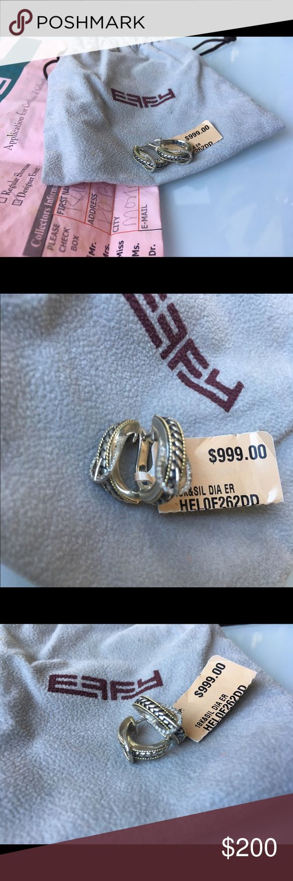 Effy 18k gold, sterling silver, & diamond earrings Brand new with tags! Authentic Effy 18k yellow gold, sterling silver, & diamond buckle j-hoop earrings, never worn with price tag still attached & showing value at $999. Comes with original packaging and Effy duster bag. Effy Jewelry Earrings