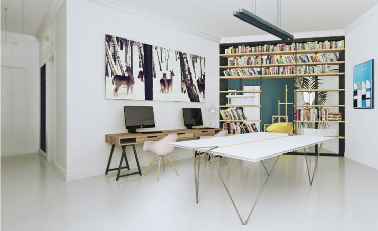 visualization of place for work, open spaced, heart of home, bookshelves, i took picture of roe deers in 2010, poster from bauhaus, lot of inspirationsscandnavian style