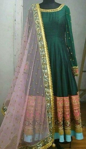 Deep green raw silk anarkali with gota patti work