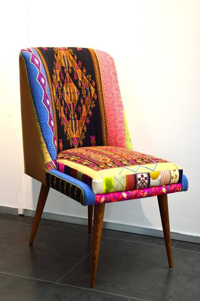 Palestinian Story.  Chair with Palestinian embroidery