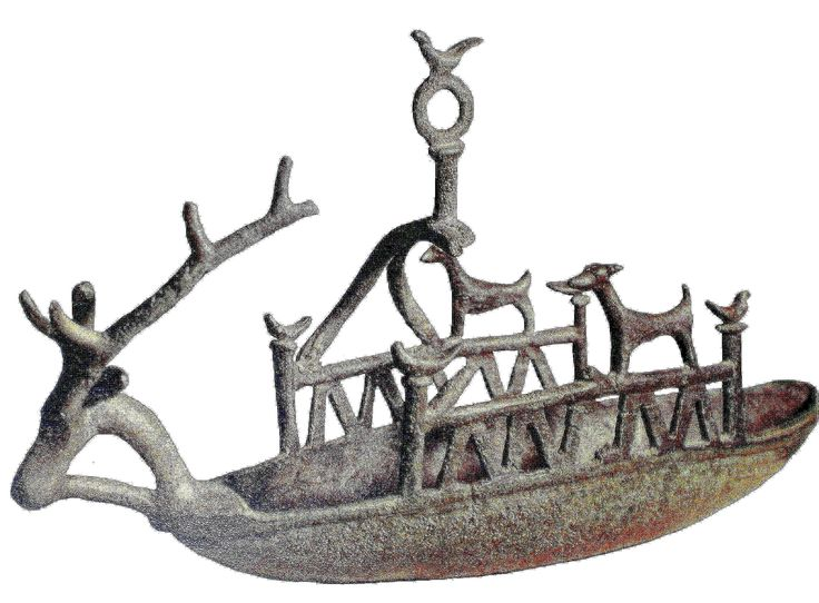 Nuragic votive boat, Bronze