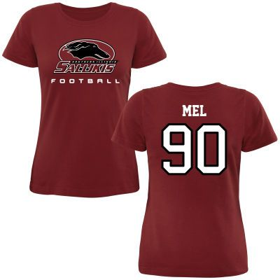 Southern Illinois Salukis Women's Personalized Football Classic Fit T-Shirt - Maroon