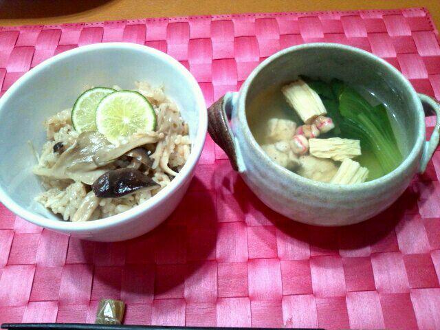 椎名、しめじ、エリンギ、舞茸でキノコ三昧ご飯だよ~ヽ(^o^)丿 - 25件のもぐもぐ - キノコご飯、鶏肉と湯葉・青梗菜のお吸い物 by MIKO324