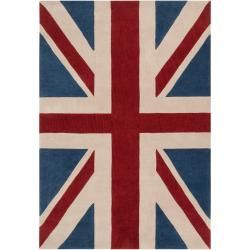 cool Hand-tufted Contemporary Union Jack Red Pipefish Abstract Rug (5' x 8')