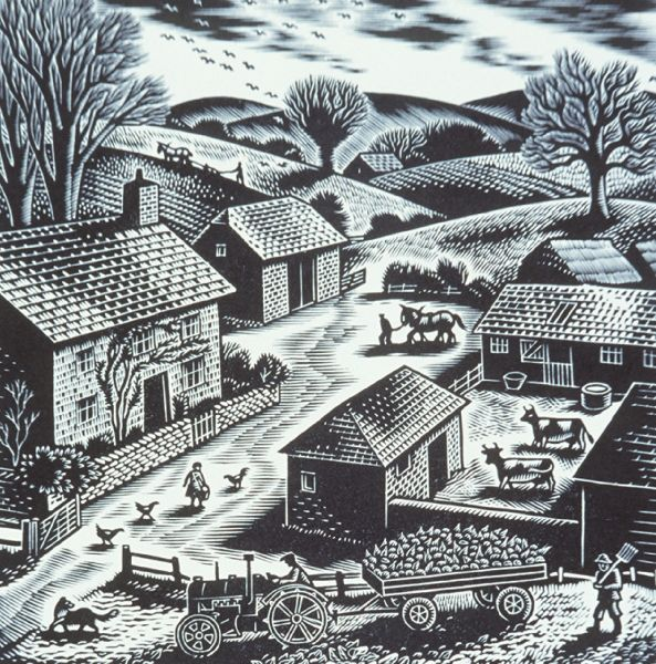 Gwenda Morgan, Downland Farm, 1949, wood engraving on paper