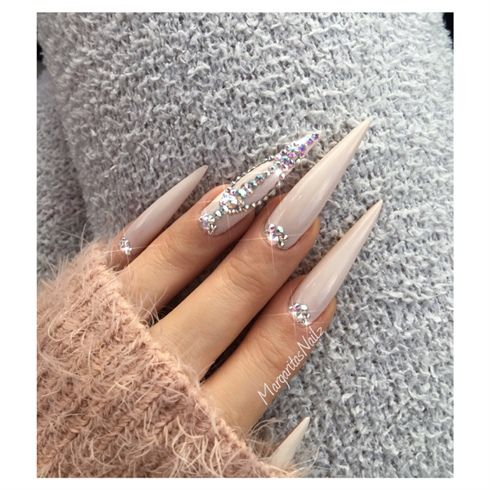 Nude Bling Stiletto Nails  by MargaritasNailz