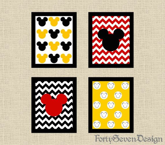 Set of 4 Mickey Mouse Black White Yellow & Red Chevron Printable Wall Art by FortySevenDesign, $10.00