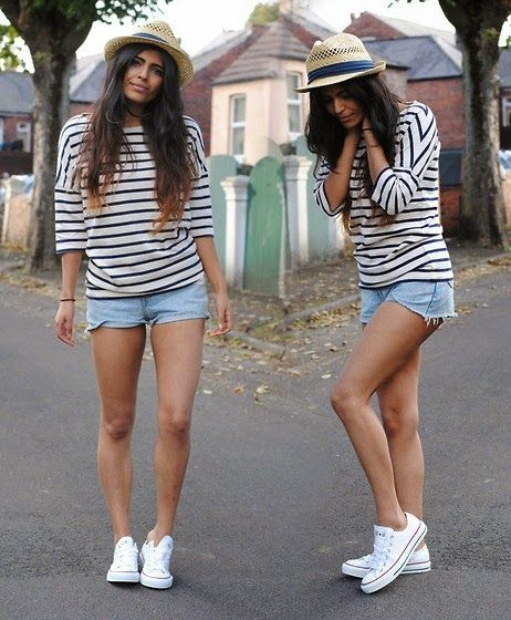 Stripes, hat, jeans and chucks...what more do you need ...