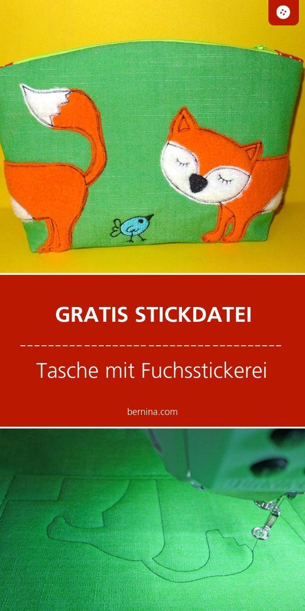 Gratis Stickdatei: Tasche mit Fuchsstickerei