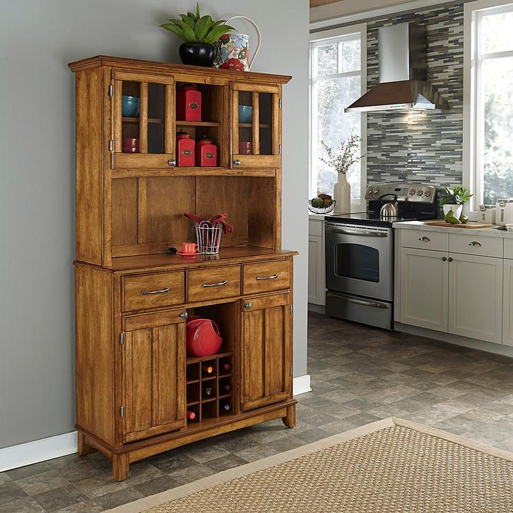 Home Marketplace Home Styles Large Serving Buffet with Hutch - Warm Oak