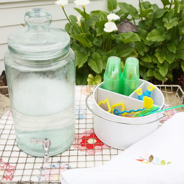 create a bubble station using a lemonade jar with spigot and all the fixin's.  perfect for birthday parties!