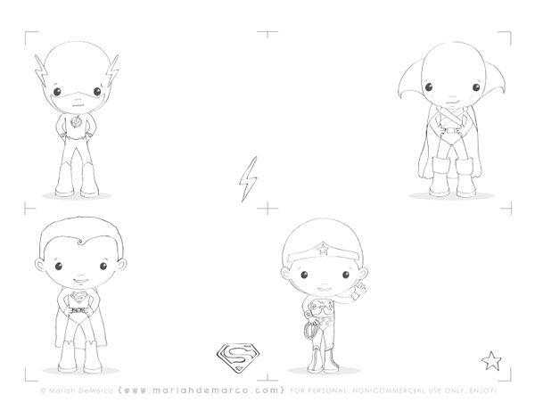 Tarjetas de superhéroes para colorear. Cute super heroes coloring sheets.