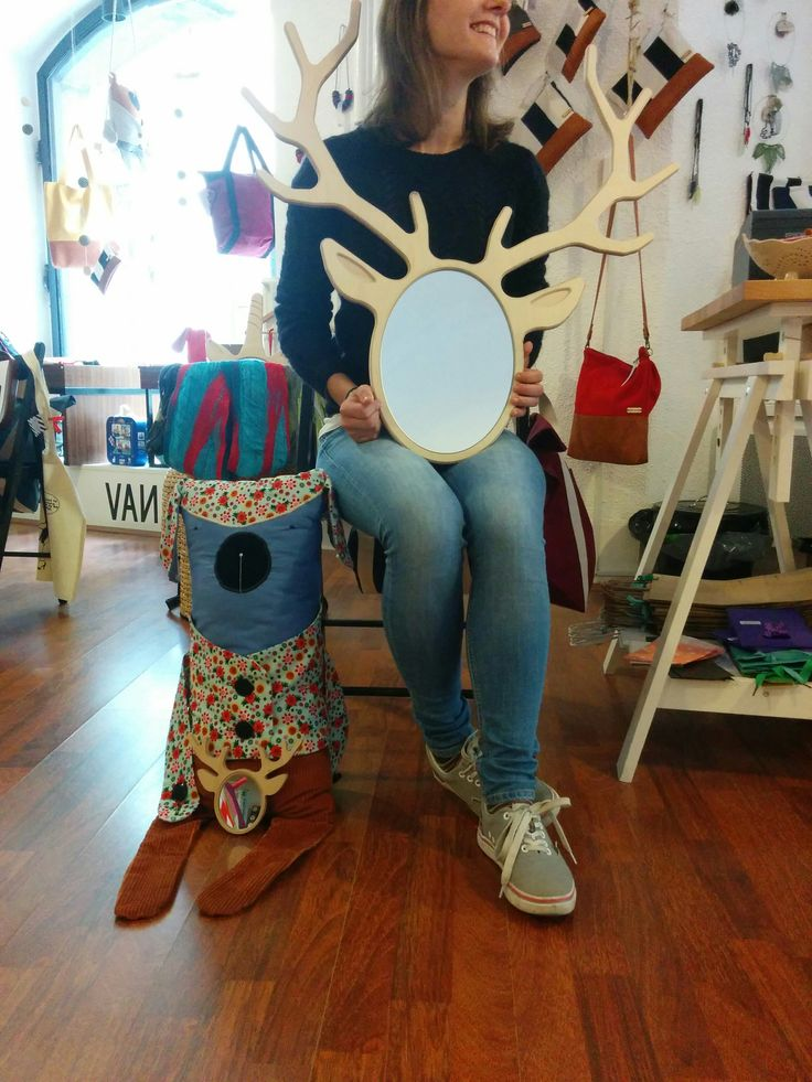 Our Laura and our plushy dog are both excited about our Dear Mate mirrors. Cool wooden mirrors in the form of wild forest animals. #slovenianproducts #žabavanda
