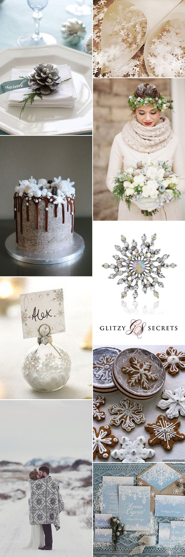 Beautiful snowflake wedding ideas on GS Inspiration - Glitzy Secrets