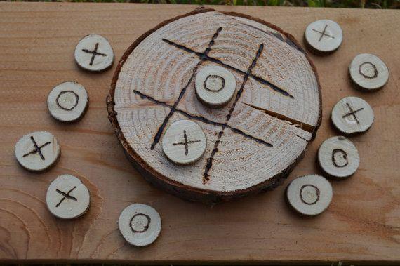 Rustikale Holz Runde Tic Tac Toe-Sets – kundenspezifisch konfektioniert