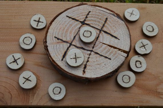 Rustic Wood Round Tic-Tac-Toe Sets - Made To Order