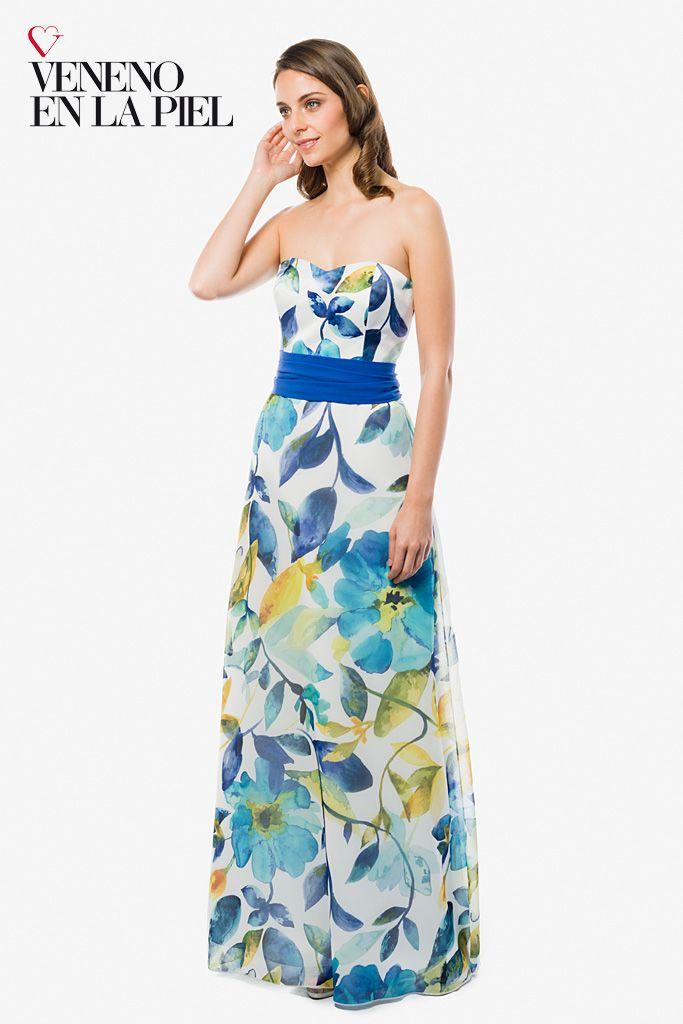 Vestido largo estampado floral, en tonos azules, verdes y amarillos. http://www.venenoenlapiel.com/es/vestidos-largos/397-vestido-largo-flores-p-honor.html