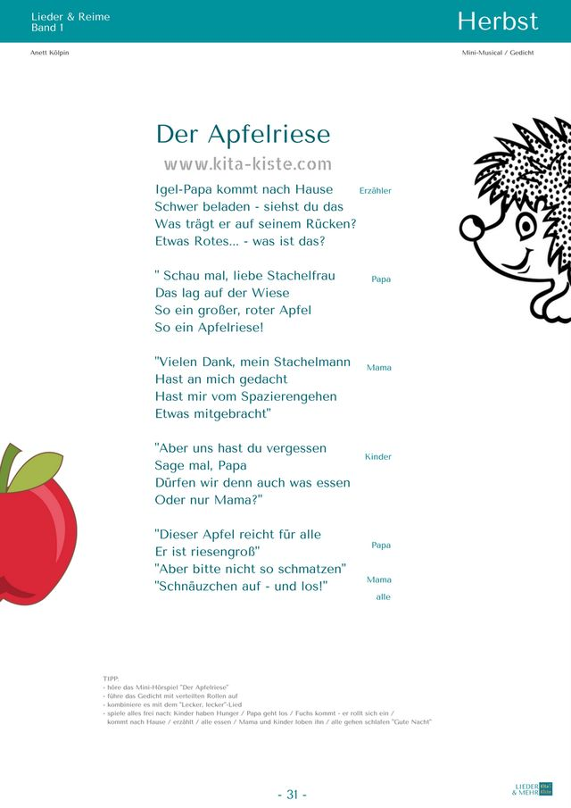 igel  kinderlieder für kita  krippe  gedichte für