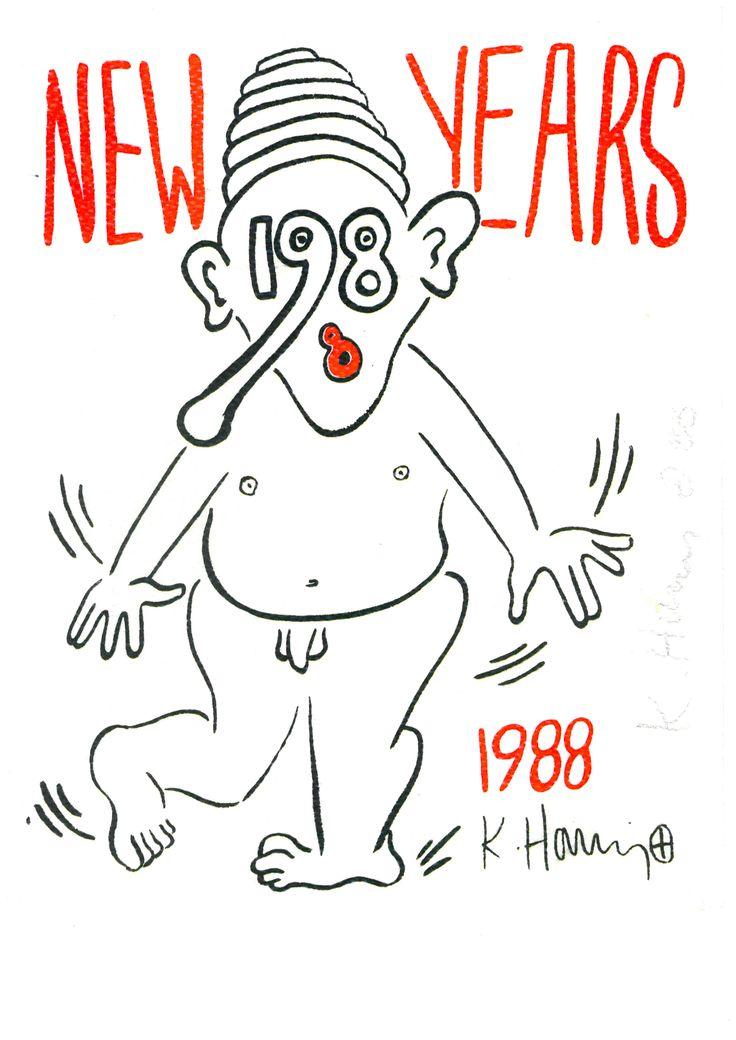 #New #Years Invitation - #Nude 1988  Serigrafia su carta di tessuto, Cm. 25,5 x 20,5 Edizione Limitata non numerata. Firmata e datata a matita 'K. Haring 88' sul fronte a destra.