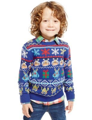 He will be monsterly cute with this Pure Cotton Little Monster Jumper (1-7 Years) ranging from £12.60 – £14.00 at Marks & Spencer #UglySweater #Swagbucks