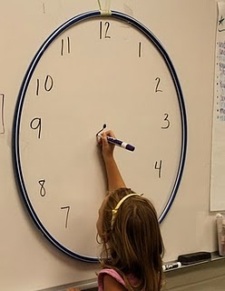 "Telling Time- stick a hula hoop to the white board, and write numbers around the inside of the circle to make a ""clock"".  You can make little notches around the inside of the hula hoop to practice telling time to the exact minute, if you choose to, but I really like to use this to work with elapsed time.  We rarely tell time to the minute when practicing elapsed time, so the prep for this lesson is minimal!  Just keep your Judy Clock handy to allow the kiddos to manipulate the hands if they…"