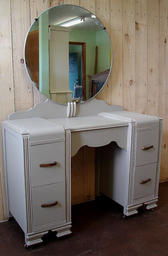 vintage vanity with round mirror. Vintage Retro Mud Gray Chalk Paint Vanity Dressing Chest with Round Mirror  Waterfall 284 68 best Furniture images on Pinterest