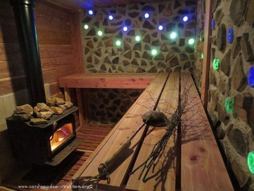 Cordwood Sauna in Givens, West Virginia