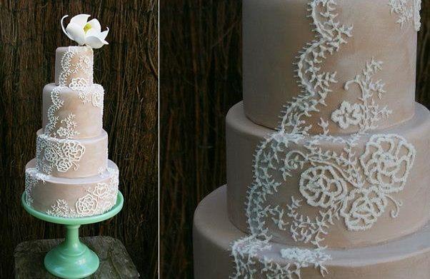 Кружева завесу свадебный торт с Нади Торты и печет Великобритании