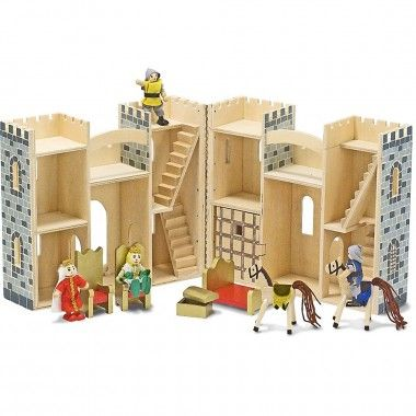 Toy Castles Wooden If your looking for the perfect toy castle for boys and girls to enjoy playing with for hours, this stunning wooden toy castle will amaze any child and provide hours of action and adventure, it also folds up to so you can take it anywhere.  This decorative wooden castle includes a king and queen with thrones and a royal bed, two knights with horses to defend their treasure chest, a working drawbridge and a dungeon which makes it one of the best value action packed playsets…
