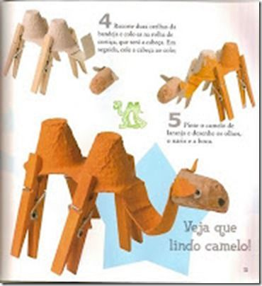 Manualidades pinza camello con huevera
