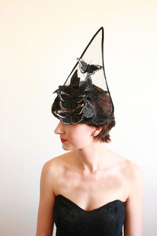 Natalie Chan Couture millinery: Catching Mariposa Noir