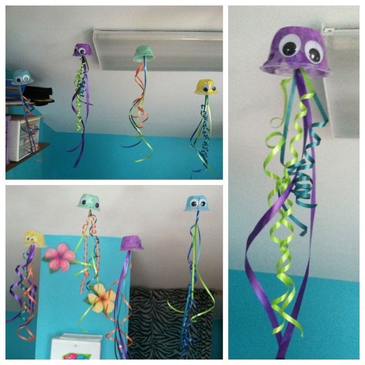 """Easy """"Jellyfish"""" craft! All thats needed: Recycled fruit cups, tissue paper, mod podge, ribbon, googlie eyes!"""
