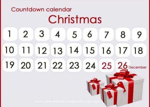 Countdown calendar Christmas. All these really nice countdown calendars are free printable via www.free-reward-cards.com.