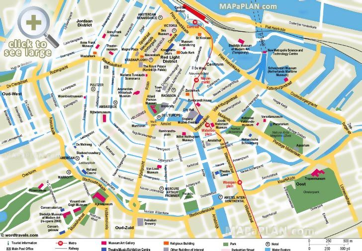 What to do in a week diagram with scale Amsterdam top tourist attractions map