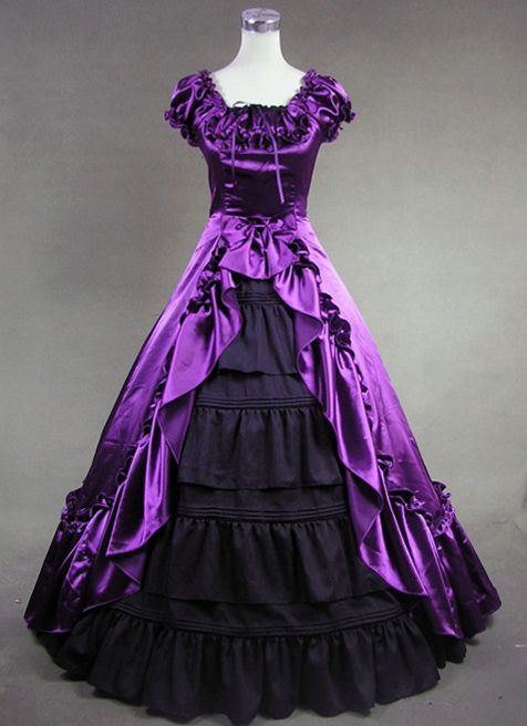Attractive Purple and Black Victorian Dress for Sale [http://www.cosplaybuy.com/renaissance-gothic-reenactment-dress-ball-gown-p-3598.html]