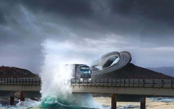 Atlantic Ocean Road, Norway – Strong ocean waves crash on the side of this road from time to time.