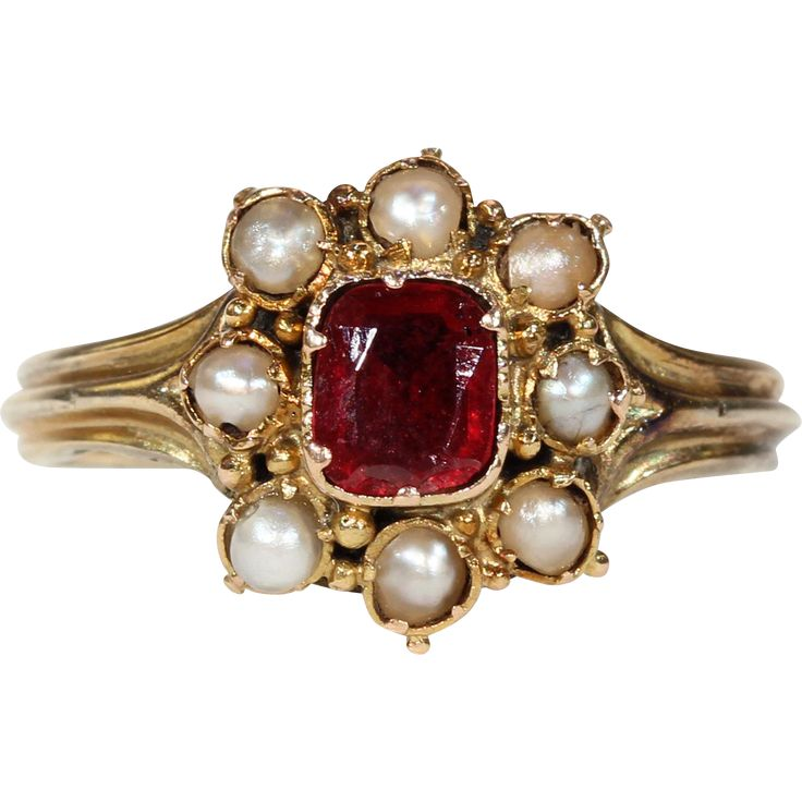 Antique Garnet and Pearl Cluster Ring from Victoria Sterling Antique Jewelry #antiquejewelry