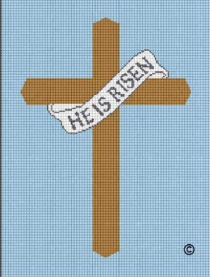 cross crochet graphs pattern | ... RISEN CHRISTIAN EASTER CROCHET AFGHAN CROSS STITCH PATTERN GRAPH CHART