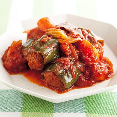 肉詰めピーマンのトマト煮 | Mako(多賀正子)さんの缶詰の料理レシピ | プロの簡単料理レシピはレタスクラブニュース