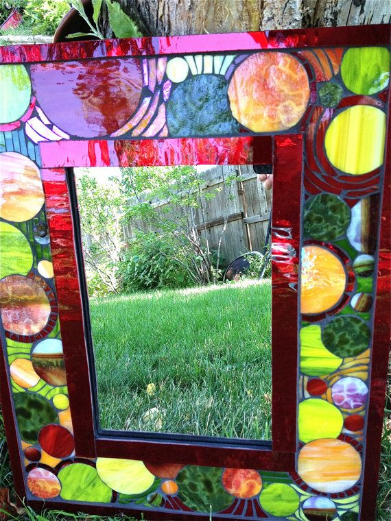 Bubblicious mosaic mirror with red green and by AugustGlass1, $250.00