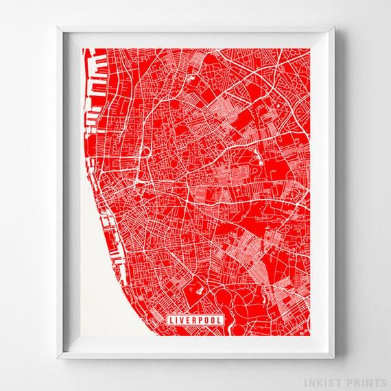 Liverpool England Europe Map Print City Road Street Etsy Map Wall Art Poster Wall Art Map Print
