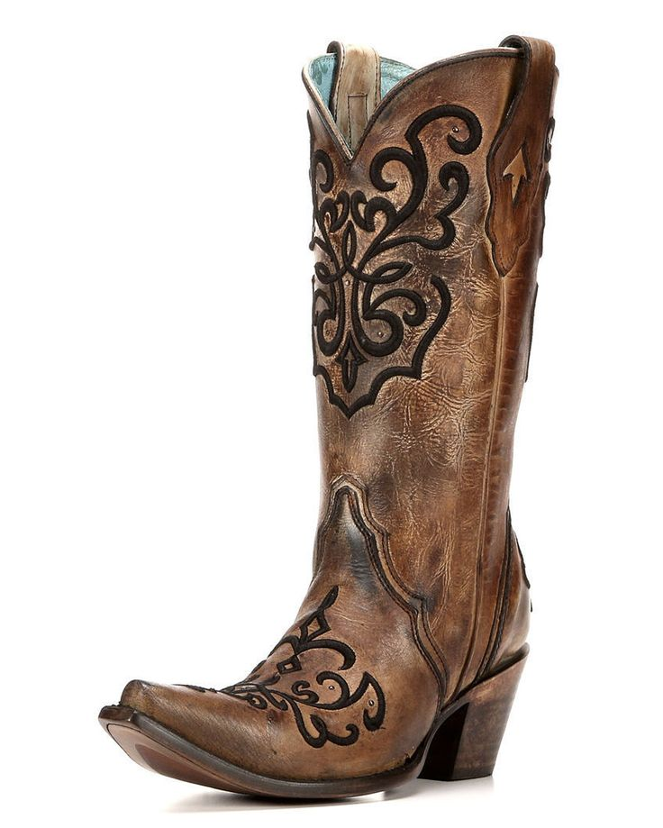 """Corral Ladies 13"""" Snip Toe Leather Cowboy Western Boots Brown Crystals C3009"""