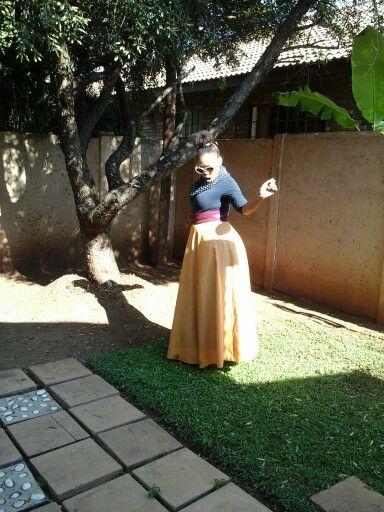 Ankle length A - line skirt.