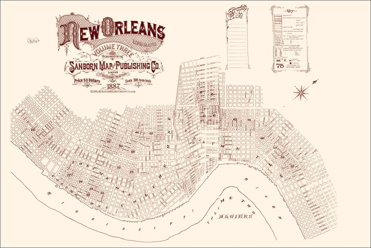 New Orleans 1887 Sanborn Map Poster 24x36