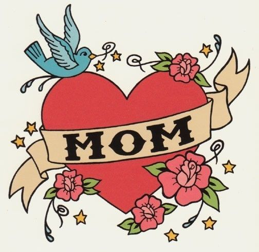 MOM classic tattoo style folding card by BettyTurbo on Etsy, $4.00