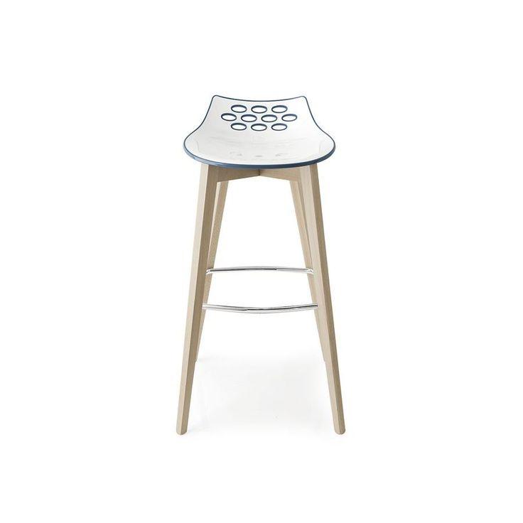 Sgabello alto legno con seduta plastica Connubia Calligaris Jam W CB/1487 - Il design moderno e creativo di questo sgabello è disponibile in diverse combinazioni di colori.