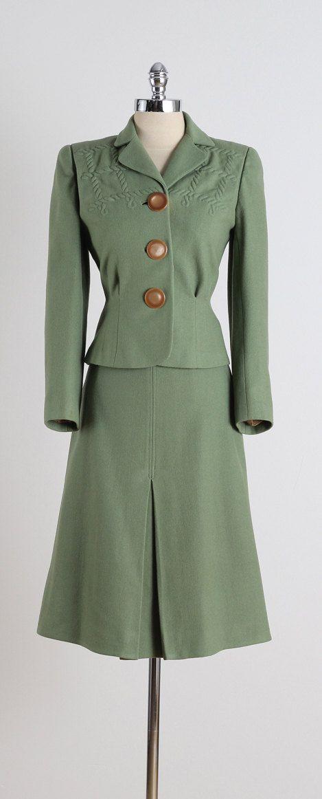 Sage Shadow . vintage 1940s suit . olive by millstreetvintage