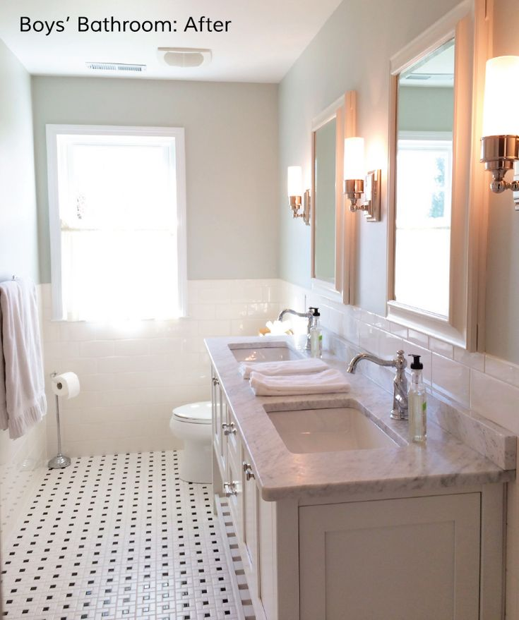 Pic Of Love this bathroom pale walls white subway tile halfway up the wall and small black and white tile on the floor