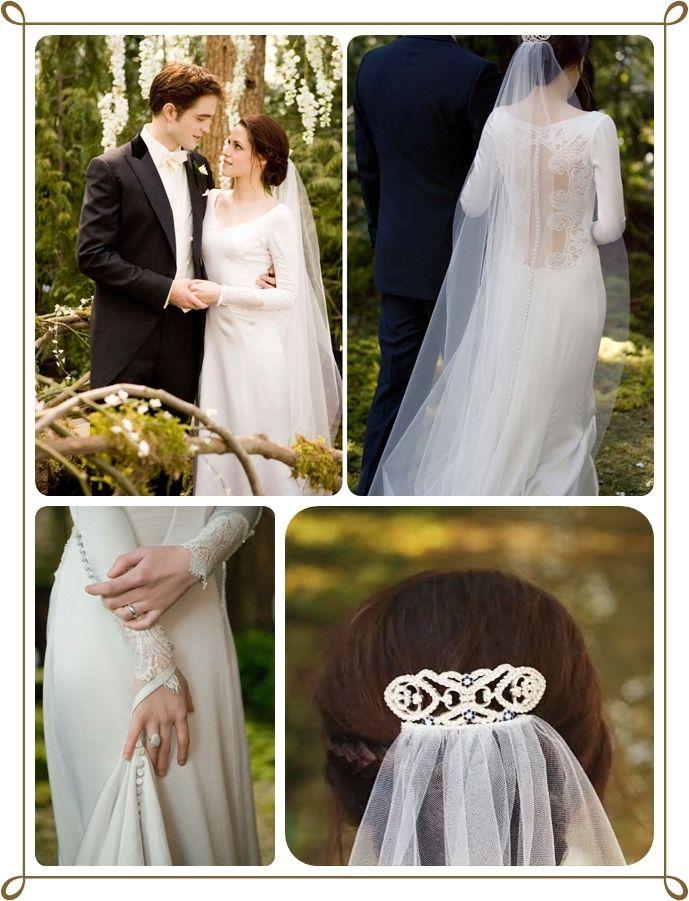 O vestido de Bella Swan acabou completamente com a moda do tomara-que-caia para noivas  O vestido e simples  na frente com um decote promisor atrás, os botões delicados nas mangas e o o véu com o prendedor da tradição do casamento algo azul,velho e emprestado
